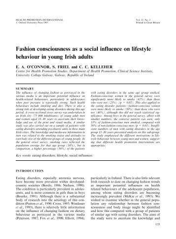 Fashion consciousness as a social influence on lifestyle behaviour ...