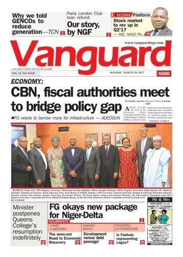20032017 - ECONOMY: CBN, fiscal authorities meet to bridge policy gap