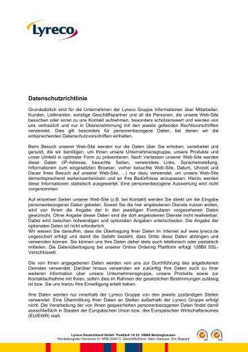 Lyreco Datenschutzrichtlinie