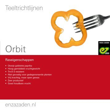 Teeltinformatie Orbit 2016