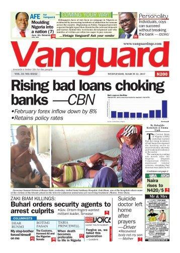 22032017 : Rising bad loans choking banks —CBN