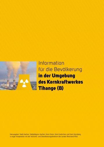Information für die Bevölkerung in der Umgebung des Kernkraftwerkes Tihange (B)