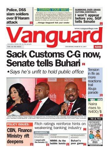 23032017: Sack Customs C-G now, Senate tells Buhari
