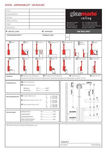 GM RAILING Statik - Anfrageblatt