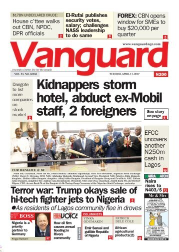 11042017 - Kidnappers storm hotel, abduct ex-Mobil staff, 2 foreigners
