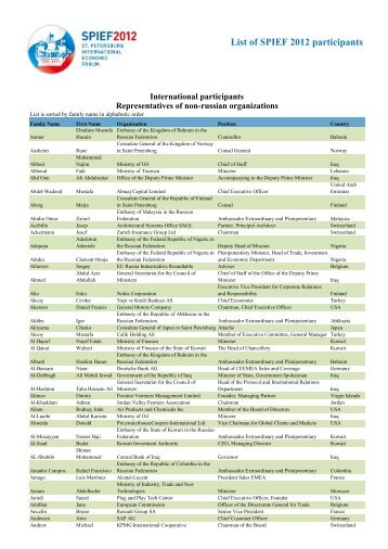 List of SPIEF 2012 participants - St. Petersburg International ...