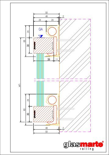 GM WINDOORAIL Profil eckig - Detailzeichnung