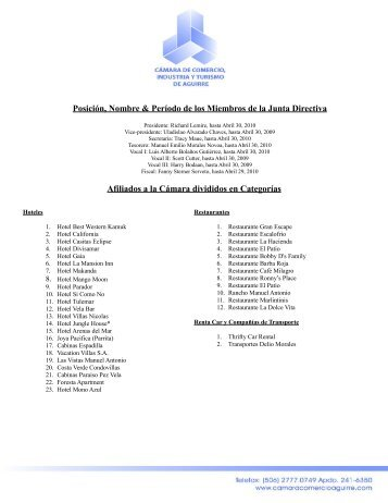 Afiliados divididos por categorías - Cámara Comercio Aguirre