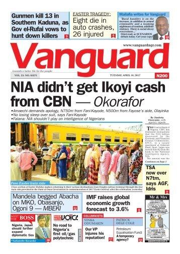 18042017 - NIA didn't get Ikoyi cash from CBN — Okorafor