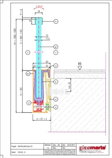 GM RAILING SOLO YS 16 - Detailzeichnung
