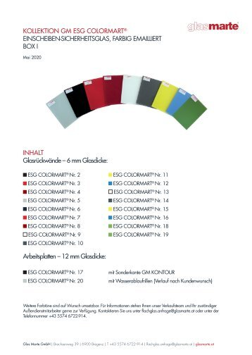 ESG COLORMART Glaskollektion - Informationsblatt