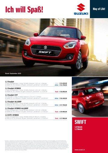 SWIFT Preise, Ausstattung und technische Daten