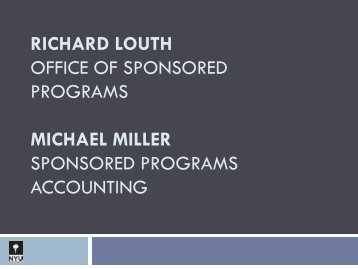 RICHARD LOUTH OFFICE OF SPONSORED PROGRAMS ...