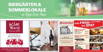 Biergärten und Sommerlokale im Rhein-Kreis Neuss