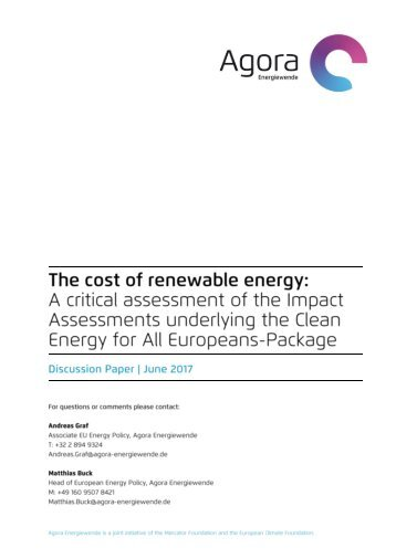 Agora Energiewende - Cost-of-Renewabel Energies