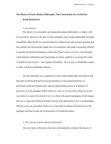 The History of Early-Modern Philosophy: The Construction of a ...