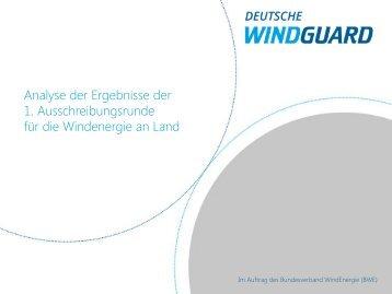 Kurzanalyse der ersten Windenergie Ausschreibungsrunde