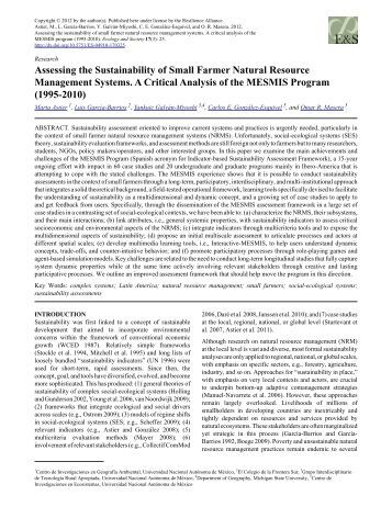 Assessing the Sustainability of Small Farmer Natural Resource ...