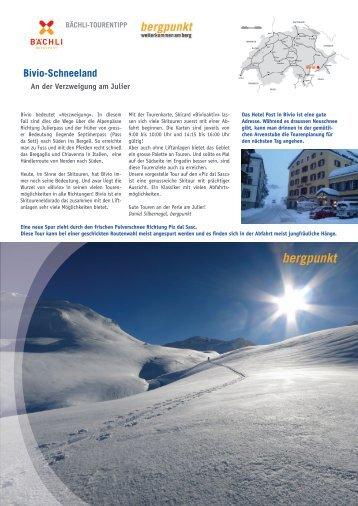Tourentipp 01.2015 Bivio - Schneeland