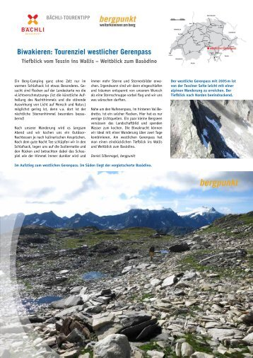 Tourentipp 05.2016 Biwak am Gerenpass