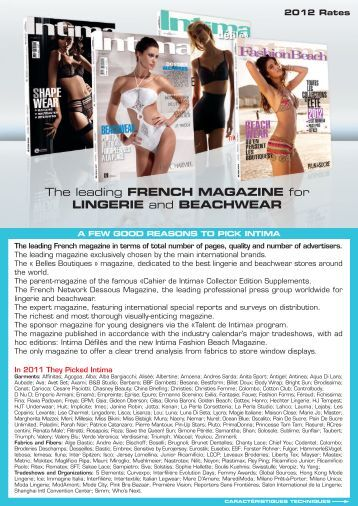 The leading FRENCH MAGAZINE for LINGERIE and ... - Intima