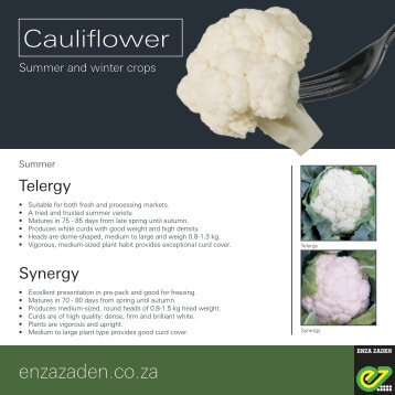Leaflet Cauliflower South Africa 2017