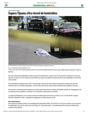 Supera Tijuana cifra récord de homicidios