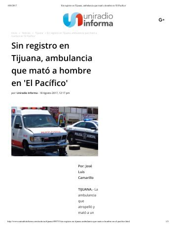 Sin registro en Tijuana, ambulancia que mató a hombre en 'El Pacífico'