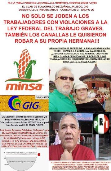 GANDALLAS, ARMANDO GOMEZ FLORES Y OMAR RAYMUNDO NO RESPETAN NI A LA FAMILIA, LE MADRUGAN A SU HERMANA EL CONTROL DE LAS EMPRESAS GIG DESARROLLOS EN OTRO ACTO ILEGAL