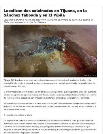 Localizan Dos Cadáveres Calcinados en la Delegación Que El Panismo Le Dejo Encargada al Patiño Radiofonico EL CHON, Del. Sanchez Taboada, Misma de LA Rioja Tijuana - Colinas de California - Coto Bahía