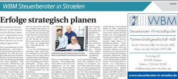 WBM Steuerberater in Straelen  -02.09.2017-