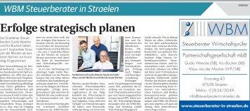 WBM Steuerberater in Straelen  -02.09.2017-