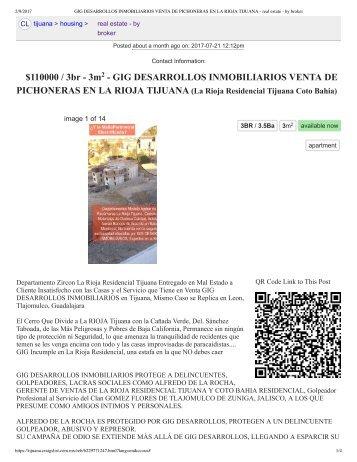 GIG DESARROLLOS INMOBILIARIOS VENTA DE PICHONERAS EN LA RIOJA TIJUANA - real estate - by broker