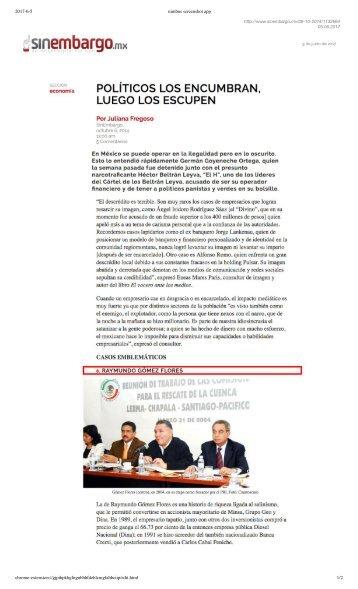 Politicos Mexicanos Utilizan a Empresarios Mientras les Son Utiles Para Despues Escupirlos en el Descredito Publico, Afirma Publicacion Señalando a Omar Raymundo Flores Rosas como un Caso Emblematico