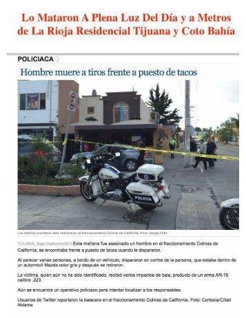 Asesinado en Taqueria de Colinas de California a Metros de La Rioja Residencial Tijuana y Coto Bahía Tijuana en Zona de Violencia e Inseguridad