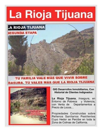La Rioja Residencial Tijuana Entre Narcotráfico, Homicidios, Rellenos Sanitarios y Estafa Inmobiliaria en TIjuana GIG DESARROLLOS INMOBILAIRIOS