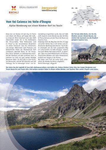 Tourentipp 09.2017 - Vom Val Calanca ins Valle d'Osogna
