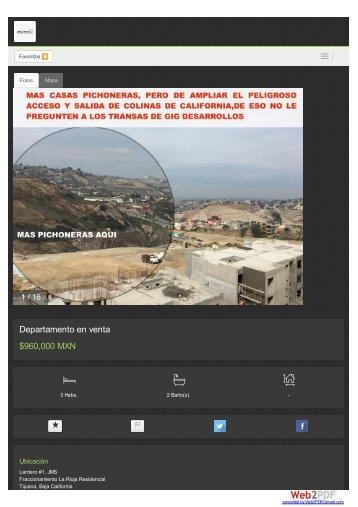 La Rioja Tijuana Precios Ubicación Departamentos en Venta en Narco Zona Desarrollador Inmobiliario Irresponsable GIG