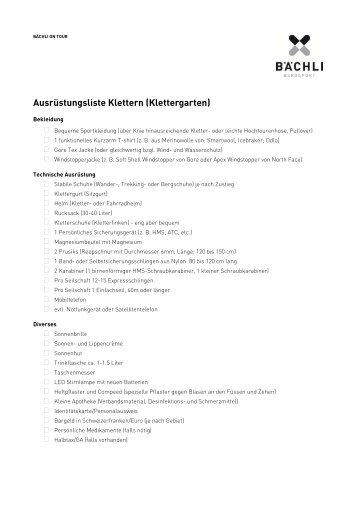 Bächli Bergsport Ausrüstungsliste Klettern/Klettergarten