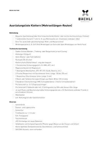 Bächli Bergsport Ausrüstungsliste Klettern/Mehrseillänge