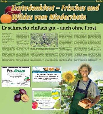 Erntedankfest - Frisches und Wildes vom Niederrhein  -29.09.2017-