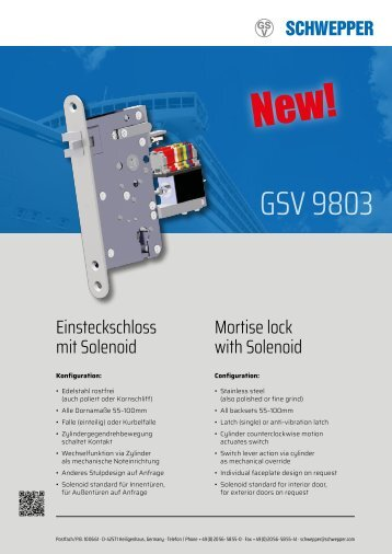 Solenoid GSV 9803 electromechanical locks