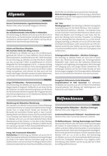 Gemeindespalten KW41 / 12.10.17