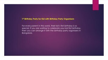 Birthday Party for Kid with Birthday Party Organisers