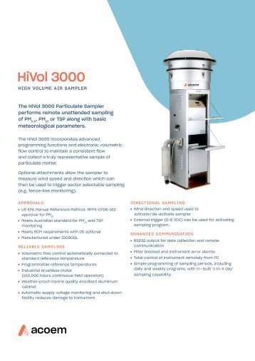 ECOTECH HiVol 3000 spec sheet