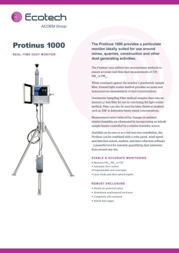 ECOTECH Protinus 1000 spec sheet