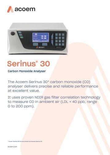ECOTECH Serinus 30 CO Analyser spec sheet