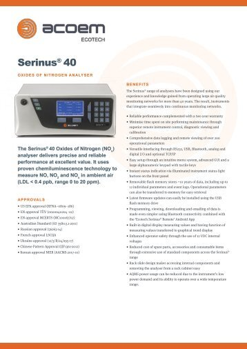 ECOTECH Serinus 40 NOx Gas Analyser spec sheet
