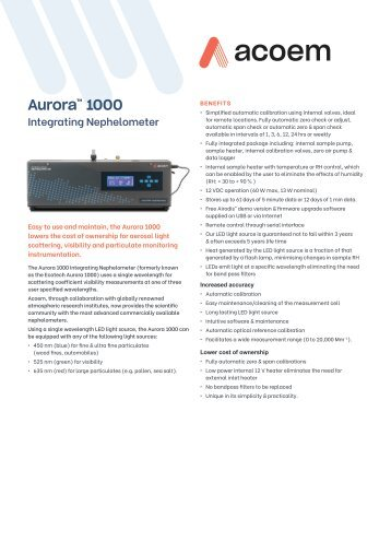 ECOTECH Aurora 1000 spec sheet