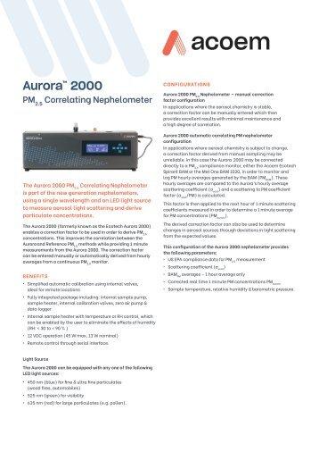ECOTECH Aurora 2000 spec sheet